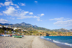 Burriana Beach in Nerja. Burriana beach at the Mediterranean Sea in Nerja, Spain, Costa del Sol, southern Andalusia region Stock Image