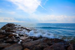 Burriana breakwater in Castellon of Spain. Burriana breakwater in Castellon of Mediterranean Spain stock images