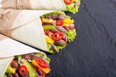 Burrito avec du boeuf images libres de droits