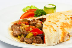 Burrito with beans and beef Stock Images