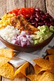 Burrito bowl with chicken grilled, rice and vegetables, also nac Stock Image