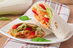 Burrito with chicken, beans and tomatoes Stock Image