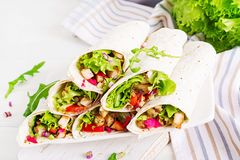 Burrito de poulet Déjeuner sain Enveloppes mexicaines de tortilla de fajita de nourriture de rue photos libres de droits