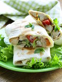 Burrito (doner) with chicken and vegetables Stock Photography