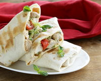 Burrito (doner) with chicken and vegetables Royalty Free Stock Images