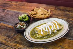 Burrito green Mexican Dish. Plate Royalty Free Stock Photos