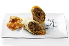 Burrito with grilled beef and kimchi Royalty Free Stock Image