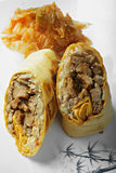Burrito with grilled beef and kimchi closeup Royalty Free Stock Photo