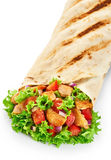 Burrito with grilled chicken and vegetables isolated on white ba Royalty Free Stock Photography