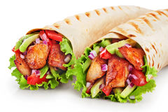 Burrito with grilled chicken and vegetables Royalty Free Stock Image