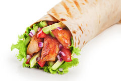 Burrito with grilled chicken and vegetables Stock Photos