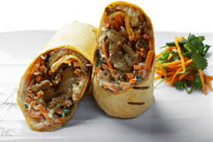 Burrito with grilled meat closeup Stock Photo