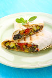 Burrito. With grilled vegetables and sauce with cheese royalty free stock photos