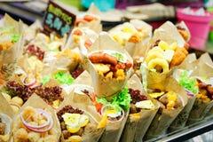 Burrito (Mexican fare) exposed for sale in a Spanish market Stock Photo