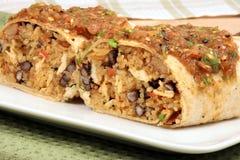 Burrito mexicano coberto com molho quente fotografia de stock