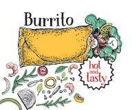 burrito Mexicansk mat Traditionell mexicansk kokkonst banermall Tecknad illustration för vektor hand Vara kan bruk för snabbt stock illustrationer