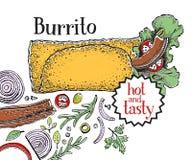 burrito Mexicansk mat Traditionell mexicansk kokkonst banermall Tecknad illustration för vektor hand Vara kan bruk för snabbt royaltyfri illustrationer