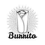 burrito Mexicansk traditionell kokkonst Vektor dragen illustration, menyetikett, baneraffischidentitet som brännmärker royaltyfri illustrationer