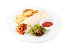 Burrito på vit bakgrund Arkivfoto