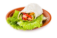 Burrito with salmon, peppers and tomato Royalty Free Stock Image