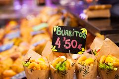Burrito stall in a indoors market. Royalty Free Stock Image