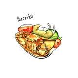 burrito tacos för grön mexikansk sås för kokkonst traditionell kryddig isolerat vattenfärg vektor illustrationer