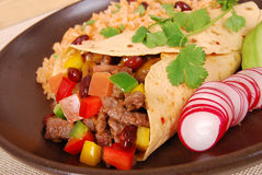 Burrito wrap sandwich. Beef burrito wrap sandwich with rice Stock Images