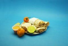 Burritos del pollo, peperoncino rosso Immagini Stock