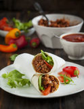 Burritos filled with meat and vegetables Royalty Free Stock Images