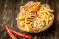 Burritos and fries Royalty Free Stock Photos