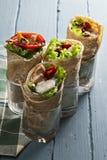 Burritos met rijst en kip Royalty-vrije Stock Foto