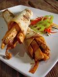 Burritos mexicanos del pollo Fotos de archivo libres de regalías