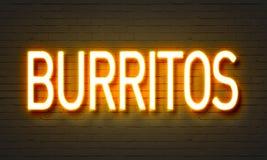 Burritos neon sign. Yellow on wall Royalty Free Stock Image