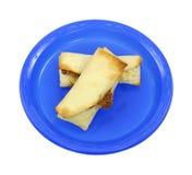 burritos piec błękitny talerz dwa Zdjęcie Royalty Free