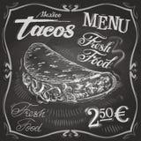 Burritos, Tacovektorlogo-Designschablone schnell Stockbilder
