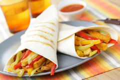 Burritos with tofu and vegetables Royalty Free Stock Photos