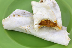 Burritos Two Cooked Green Plate Close Royalty Free Stock Photography
