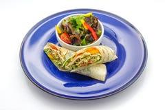 Burritos with vegetable salad Stock Image