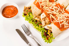 Burritos on white background Stock Photos