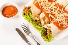 Burritos on white background Stock Photos