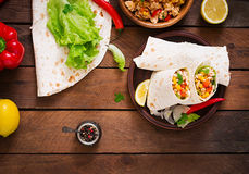 Burritos wraps with chicken meat Royalty Free Stock Photo