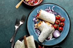 Burritos wraps with chicken meat and vegetables, traditional Mexican cuisine stock photo