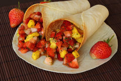 Burritos wraps with fruit. Stock Images