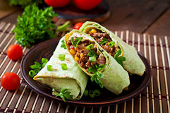 Burritos wraps with minced beef and vegetables Royalty Free Stock Photography