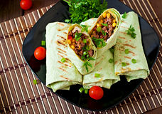 Burritos wraps with minced beef and vegetables Royalty Free Stock Photos