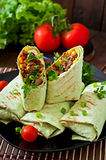 Burritos wraps with minced beef and vegetables Stock Photos