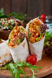 Burritos wraps with minced beef and vegetables Stock Photography