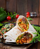 Burritos wraps with minced beef and vegetables Royalty Free Stock Images