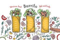 Burritouppsättning Mexicansk mat Traditionell mexicansk kokkonst banermall Tecknad illustration för vektor hand Vara kan bruk för vektor illustrationer