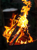 Burrning fire. Burning fire. Open flame. Evening. Cooking pan Royalty Free Stock Image